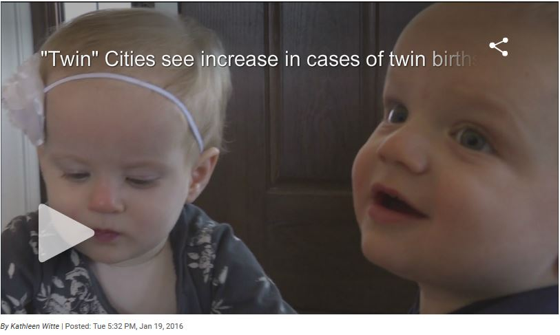 """Twin"" Cities see increase in cases of twin births"
